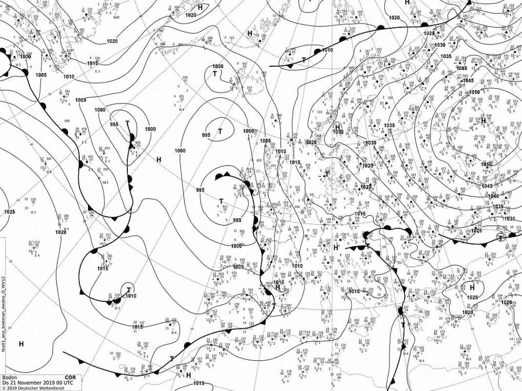 Карта фактической погоды 21.11.2019