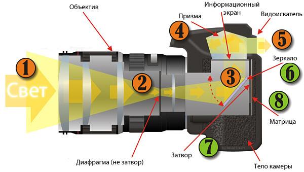 Схема зеркального фотоаппарат